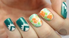 PackAPunchPolish: Aztec and Floral Nail Art with Video Tutorial