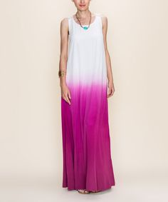 Look what I found on #zulily! Magenta & White Dip-Dye Maxi Dress #zulilyfinds