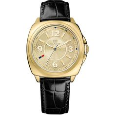 Tommy Hilfiger Watch, Women's Black Croco-Embossed Leather Strap 38mm 1781338 $105