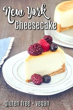 learn all the tips for making the best #vegan #glutenfree cheesecake. this New York Cheesecake recipe has the taste and texture of the classic and decadent dessert. Gluten Free Cheesecake, Best Cheesecake, Cheesecake Recipes, Wedding Desserts, Holiday Desserts, Fun Desserts, Dairy Free Recipes, Vegan Gluten Free, Vegan Recipes