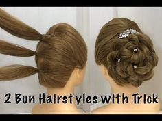 2 easy bun hairstyles with trick for wedding & party Prom Updo Hairstyle . - 2 easy bun hairstyles with trick for wedding & party Prom Updo Hairstyle – 2 Easy Bun Hairstyles with Trick for Wedding & Party 2 Buns Hairstyle, Easy Updo Hairstyles, Bun Updo, Hairstyle Wedding, Hair Wedding, Blonde Hairstyles, Easy Hairstyle For Party, Wedding Updo Hairstyles, Braid Hairband