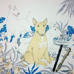 In progress ✍✨  .   Bull Terrier drawing by Anna Gavryliuk for ALBMA DREAM  #albmadream #bullterrier #drawing