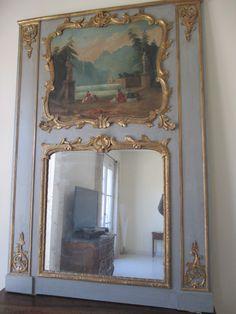 Trumeau Louis XV En Bois Rechampi Et Dore , Scene  Peinte XVIII°, Quintana-Antiquités, Proantic