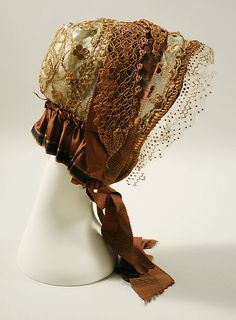 Bonnet 1850, American, Made of silk and straw