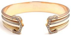 Authentic Cartier 18K Tri Color Gold Diamond Double C Cuff Bangle Bracelet Box | eBay - $4,950
