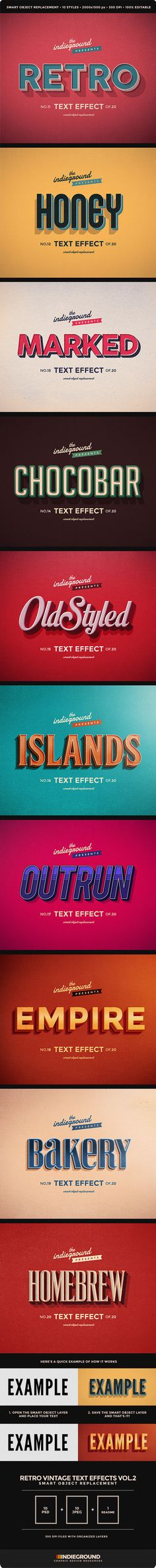 Title Ideas  Retro Vintage Text Effects Vol. 2 - Text Effects Actions $5