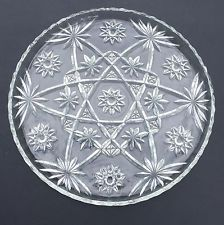 "EAPC Anchor Hocking 11"" Round Platter Cake Plate American Prescut Star of David"