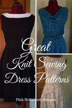 Sewing pattern recommendations for great knit dress patterns for women.