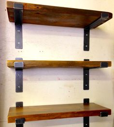Steel & Reclaimed Wood Wall Shelf | This handmade wall shelf is made for displaying your most priz... | Firewood & Fuel