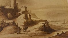 "LAMBERT DOOMER ( Amsterdam 1624 - 1700). STRONGHOLD OF THE SEA. black chalk with watercolors of various colors. 188 × 240 mm. Signed: "" Doomer "" with pencil lower left. Turin. Biblioteca Reale. Department of Dutch Drawings."