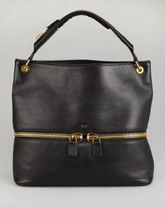 cb38e3989d77 Tom Ford Nina Black Calfskin Hobo Bag
