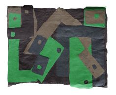 """Francis Davison [UK] (1919 - 1984) ~ """"Green, Greys, Black with Rivets"""", 1970. Paper collage (83 x 100 cm).   #art #collage #abstract"""