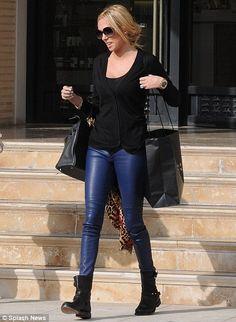 Petra Ecclestone in Joseph blue leather leggings