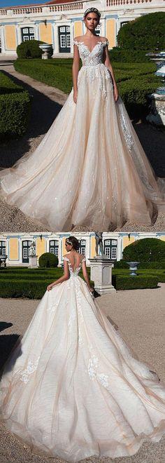 Gorgeous Tulle Sheer Jewel Neckline Natural Waistline A-Line Wedding Dress With Beaded Lace Appliques #laceweddingdresses