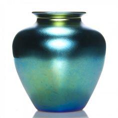 "Steuben blue Aurene Classic vase, 8"", signed : Lot 654"