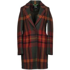 Up To Be Coat (23.600 RUB) ❤ liked on Polyvore featuring outerwear, coats, brick red, lapel collar coat, red coat, wool coat, long sleeve coat and tartan coat