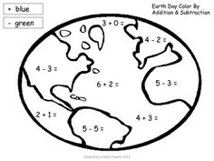 Earth Day Color by Addition & Subtraction Activity April 2013 Directions: complete the math problems and color addition problems blue and subtraction problems green. 1st Grade Science, 1st Grade Math, Subtraction Activities, Math Activities, Earth Day Projects, Earth Day Activities, Kindergarten Centers, Primary Maths, Addition And Subtraction