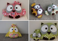 Yesterday I bought 3 yards of coordinating patterned fabrics so I can make some cute owls like these. :P
