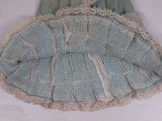 Rare Antique Original Aqua Cashmere Wool Bebe BRU Dress French circa 1880