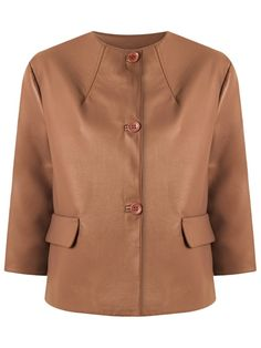 ¡Cómpralo ya!. Gloria Coelho Leather Jacket. Brown leather jacket from Gloria Coelho featuring a round neck, a front button fastening, faux pockets and lining. Talla: PP. Color: Marrón. Sexo: Mujer. Material: Cuero. , chaquetadecuero, polipiel, biker, ante, antelina, chupa, decuero, leather, suede, suedette, fauxleather, chaquetadecuero, lederjacke, chaquetadecuero, vesteencuir, giaccaincuio, piel. Chaqueta de cuero  de mujer color marrón oscuro de GLORIA COELHO.