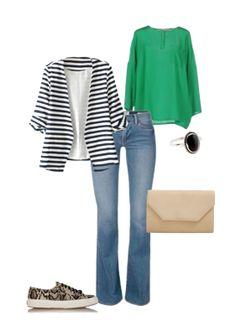 Capsule Closet   Abril 2016   Day 23 (Jeans, animalprint sneakers, beige clutch, green blouse, stripes blazer)