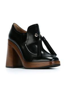 tasselled chunky heel pumps