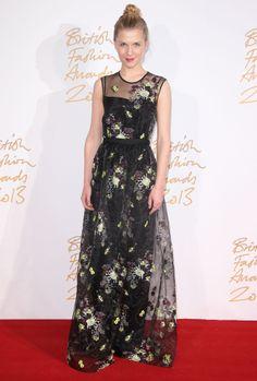La robe fleurie Erdem de Clémence Poesy aux Brit Fashion Awards