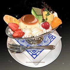 Desserts Drawing, Chibi Food, Cute Food Art, Food Sketch, Food Packaging Design, Mixed Fruit, Food Drawing, Aesthetic Food, Food Illustrations