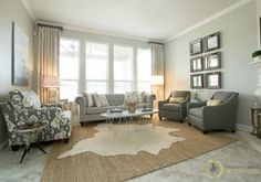 sherwin williams repose gray in a living room. I love the dummy drape panels and gridwork of mirrors as well Small Apartment Furniture, Small Living Room Furniture, Living Room Grey, Living Room Sofa, Living Room Interior, Living Room Decor, Living Spaces, Living Rooms, Family Rooms