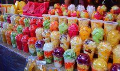 Patzcuaro Mexico mercado fruit cups