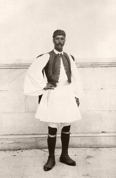 Spyros Louis, the first Marathon race winner, in a traditional clothing during the first Olympic Games. Greece Maraton segraren 1896 i Aten. Olympic Marathon, Greek Dress, Rare Historical Photos, First Marathon, Greek Culture, Greek Art, Summer Olympics, Ancient Greece, Vintage Photographs