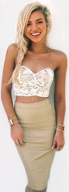 Cupshe Sun and Dance Lace Strapless Matching Set size small Passion For Fashion, Love Fashion, Fashion Beauty, Fashion Outfits, Fashion Trends, Fashion Styles, How To Have Style, Summer Outfits, Cute Outfits