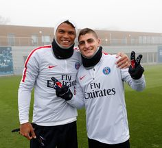 Thiago Silva and Marco Verratti training with the Nike's Spring 17 midlayers