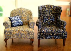 Several years ago I made a dark blue wing chair William Morris print on it. The fabric came from a silk men& tie made by . Miniature Furniture, Dollhouse Furniture, Furniture Making, William Morris Wallpaper, Morris Wallpapers, Wingback Chair, Armchair, Morris Chair, English Country Style