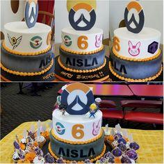My daughter's #Overwatch birthday cake! #dva #tracer #pharrah #bastion #soldier76 #mercy #sombra
