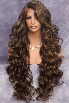 Curly Wigs, Human Hair Wigs, Afro Hairstyles, Wedding Hairstyles, Trendy Hairstyles, Long Haircuts, Black Hair Afro, Brown Hair, Brown Curls