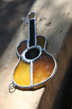 Acoustic guitar stained glass ornament