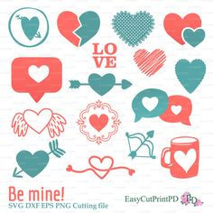 Be mine LOVE Sweet heart Valentine's Day papercut (svg, dxf, eps, png) vinyl Overlay decal Silhouette Cameo Cricut cutter EasyCutPrintPD