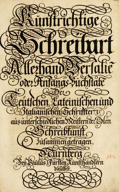 Kunstrichtige Schreibart -- ebook full of lettering alphabets and ornate drop caps