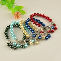 Fashion Tibetan Style Bracelets, Stretch Bracelets, with Glass Pearl Beads, Mixed Color