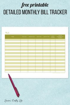 Detailed Monthly Bill Tracker. 31 days of free printables to get your home life organized. Today's printable is a detailed monthly bill tracker. Add it to your planner or home management binder.