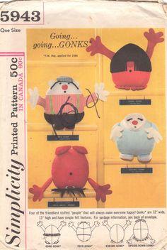 Simplicity 5943 1960s Set of GONKS Pattern Dolls Fred Gone Eskimo Upside Down Gonk 12 inches Vintage Toy Sewing Pattern UNCUT
