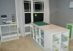 diy craft table, craft rooms, diy, painted furniture, Add a 2x2 Expedit