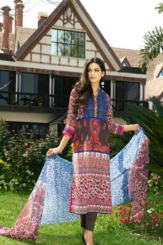 Show details for Maroon and Sky Blue Lawn Kameez with Trousers