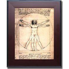 Leonardo da Vinci 'Vitruvian Man' Framed Canvas Art
