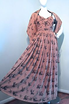 RARE 1950s HORROCKSES gown and stole by VicAndBertieVintage