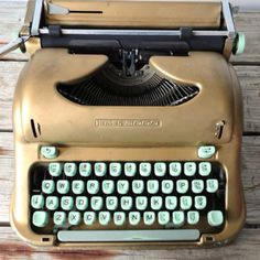 """How gorgeous is this vintage """"Swiss Portable Gold Vintage Hermes 3000 Typewriter"""" with Script / Cursive Keys?"""