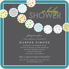 This baby shower invitation from Tiny Prints would be great for a new baby boy. Decorate with paper poms and blue balloons.