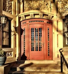 Entrance to 993 Memorial Drive. This building overlooks the Charles River outside of Harvard Square.  DiscoverWestCambridge.com.