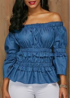 Elastic Waist Blue Off the Shoulder Blouse, free shipping worldwide at www.rosewe.com.